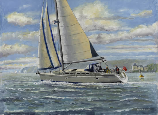 Art Commissions -Yacht Rebel Sailing Off Cowes Isle Of Wight