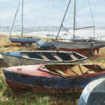 Art Gallery – Beached Boats Langstone Harbour – Painting by Gosport Hampshire Artist David Whitson