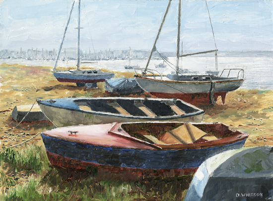 Beached Boats Langstone Harbour - Painting by Gosport Hampshire Artist David Whitson