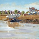 Beached Yacht On Beach – Hardway Hampshire – Art Prints and Oil Painting