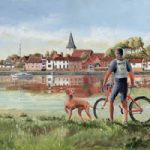 Cyclist With His Dog at Bosham West Sussex