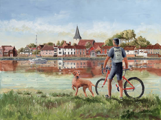 Cyclist with his dog at Bosham West Sussex - Painting