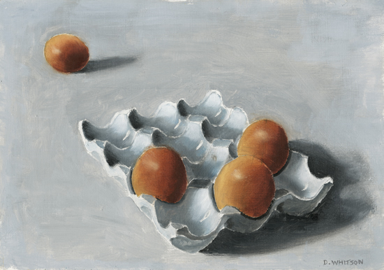 Four Eggs and Egg Box Oil Painting - Hampshire Artist - Prints