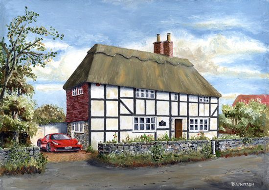 Old Cottage With Red Ferrari - Commissoned Painting - Gosport Hampshire Artist