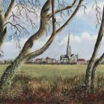 Salisbury Cathedral Town Path – Painting and Art Prints For Sale