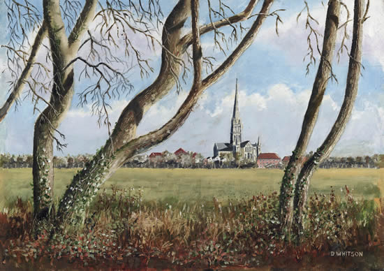 Salisbury Cathedral from Town Path - Painting and Art Prints For Sale
