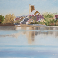 St Marys Church from Stoke Lake – Art Prints and Painting For Sale