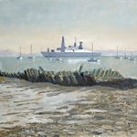 Then and Now – Old Boat Wreck and Modern Ship – Art Prints and Painting – David Whitson