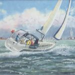 Yacht Wagtail Sailing Off Portsmouth – Painting